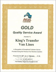 Quality Moving Company Award Certificate